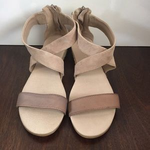 Mint Velvet taupe leather & suede Sandals size 39